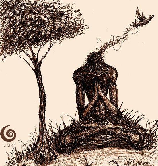 Imaginación al Aire Libre/Free Imagination Gustavo Adolfo Fine Arts Ink Drawing
